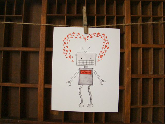 robot heart print you make my heart beep