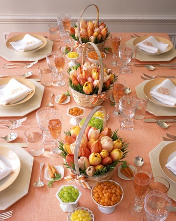 peach easter table