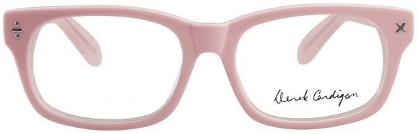 derek cardigan pink glasses