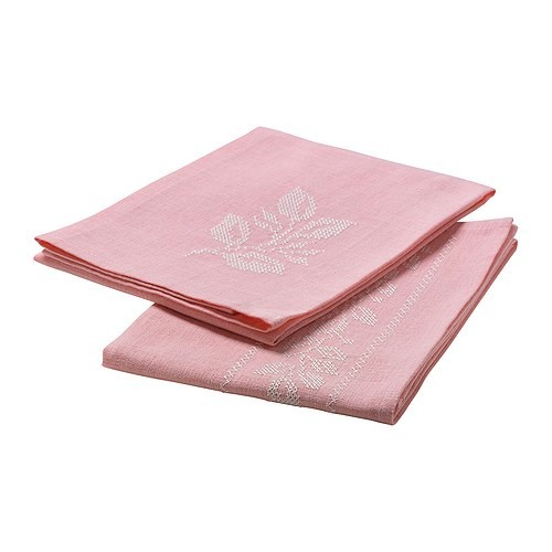 pink tea towel