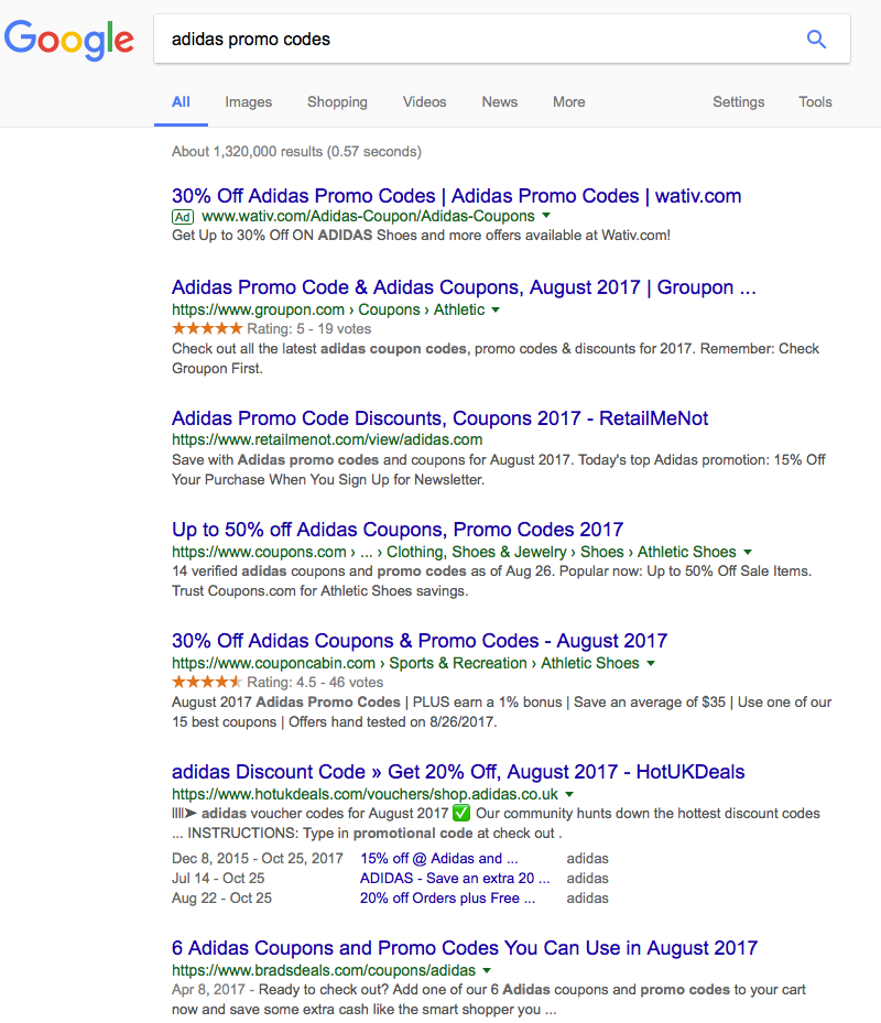 Finding adidas promo codes using Google Search
