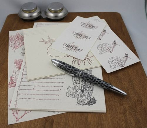black coral stationery