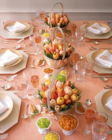 peach easter table