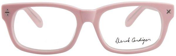 derek cardigan pink glasses