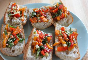 Roasted Bell Pepper Bruschetta Recipe