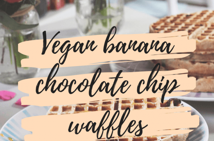 Vegan banana chocolate chip waffles