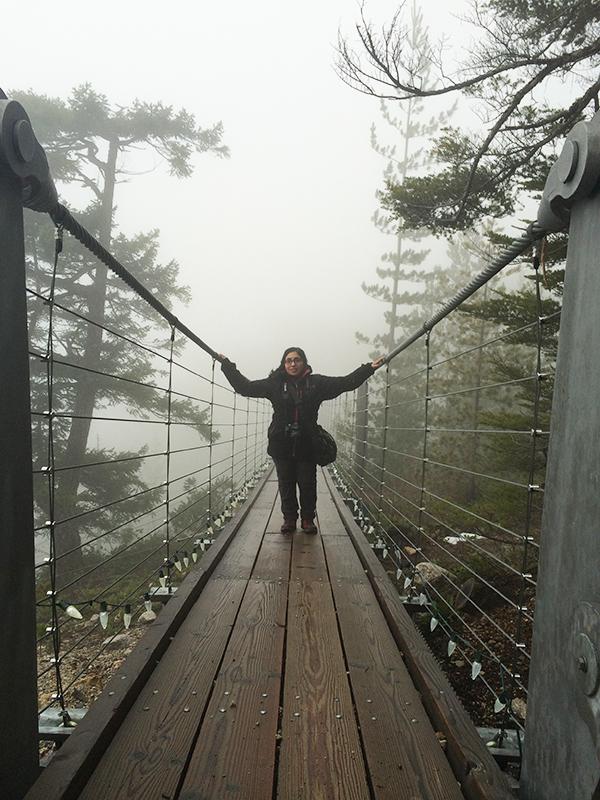 Tazim on the Sky Pilot suspension bridge